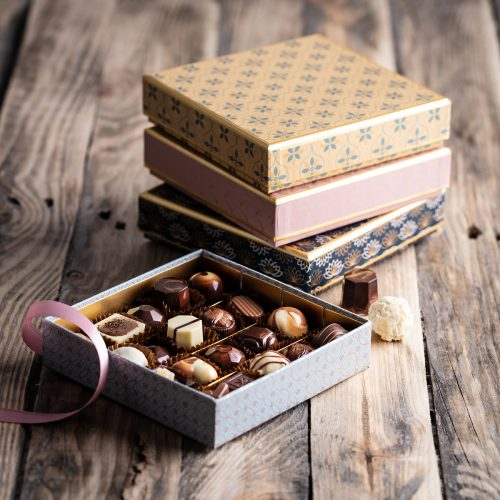 Saunders Chocolates Art Nouveau Boxes Stacked