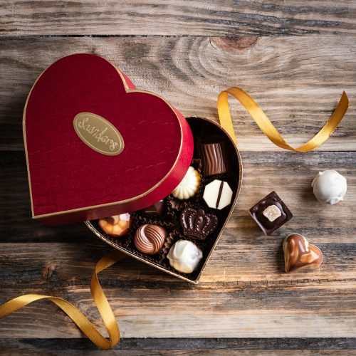 Saunders Chocolates Red Heart Chocolate Box Open