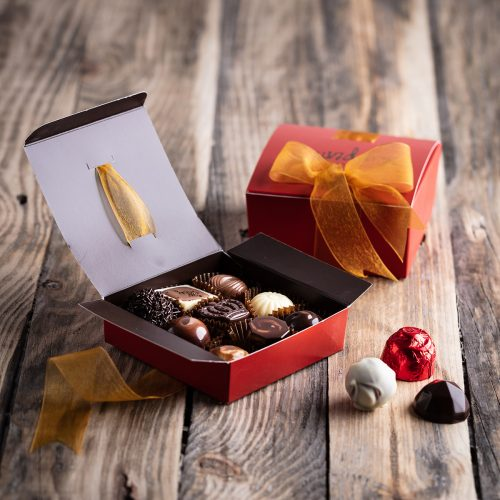 Saunders Chocolates Ribboned Chocolate Boxes Open