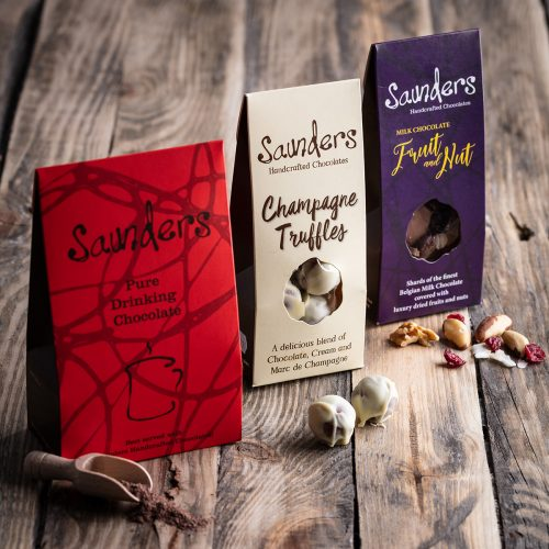 Saunders Chocolates Pouch Perfect Hamper Packaging